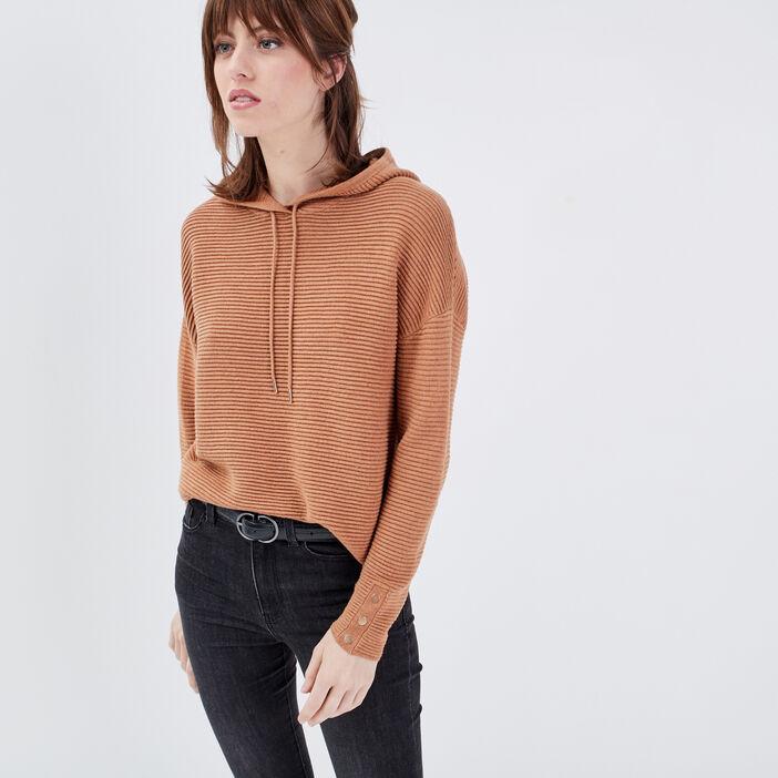 Pull manches longues à capuche marron clair femme
