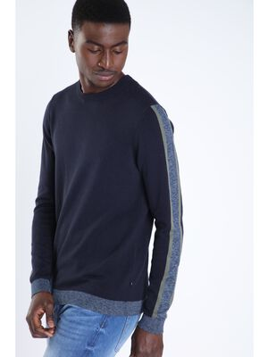 Sweat manches longues liseres bleu marine homme