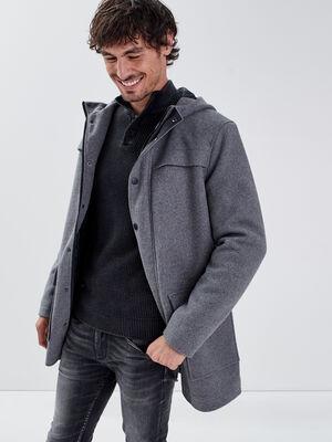 Manteau droit a capuche gris fonce homme