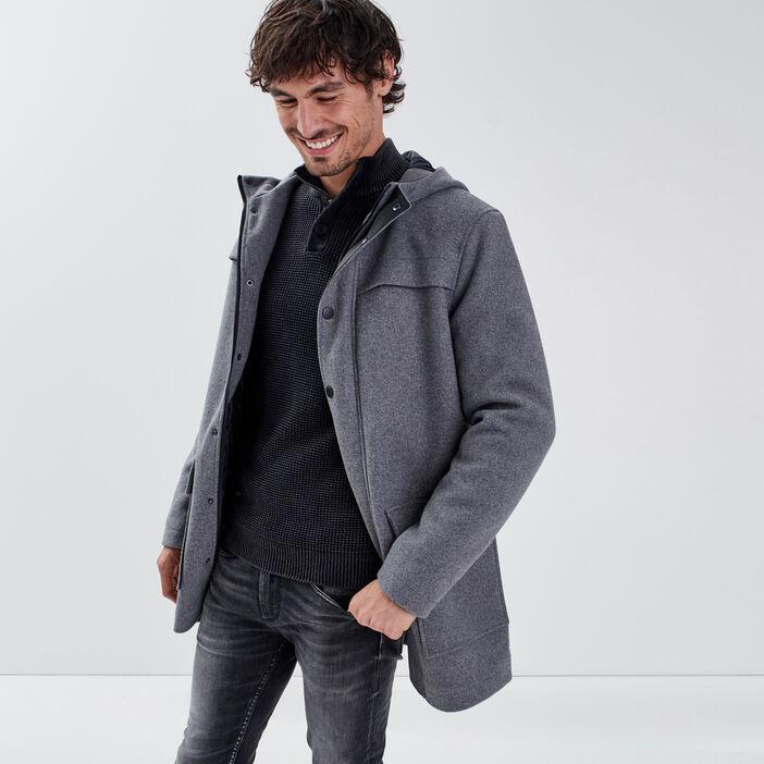 Manteau droit à capuche gris foncé homme
