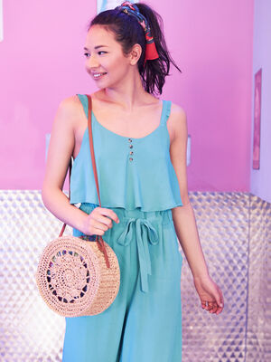 Combinaison pantalon bleu turquoise femme