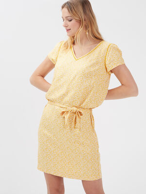Robe droite ceinturee jaune fonce femme