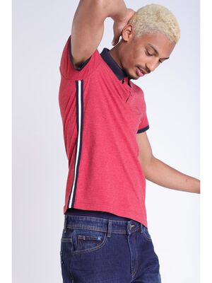 Polo chine rouge fonce homme