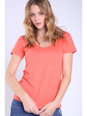 T shirt eco responsable orange corail femme