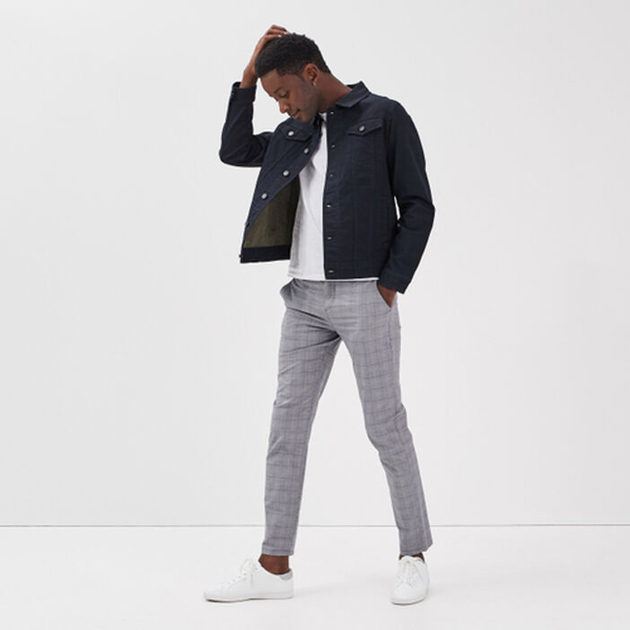 Veste en jean cintrée poches denim stone homme