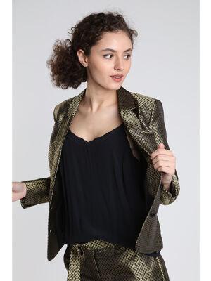 Veste blazer ajustee metallisee noir femme
