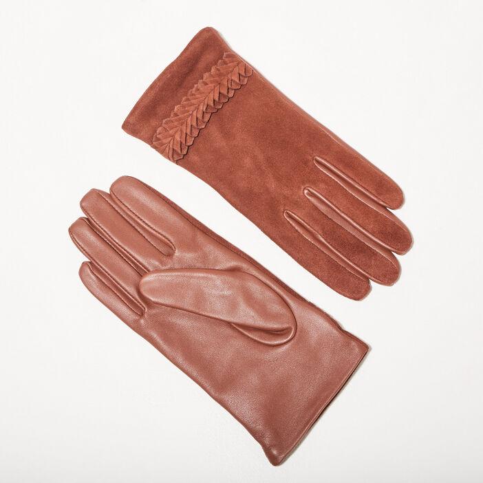 Gants détails au poignet marron cognac femme