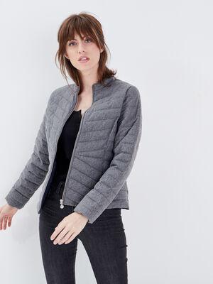 Doudoune cintree zippee gris fonce femme