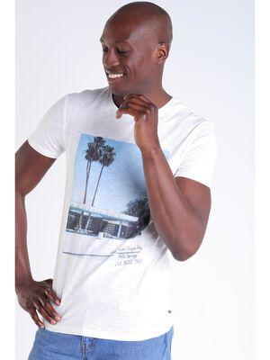 T shirt imprime ecru homme