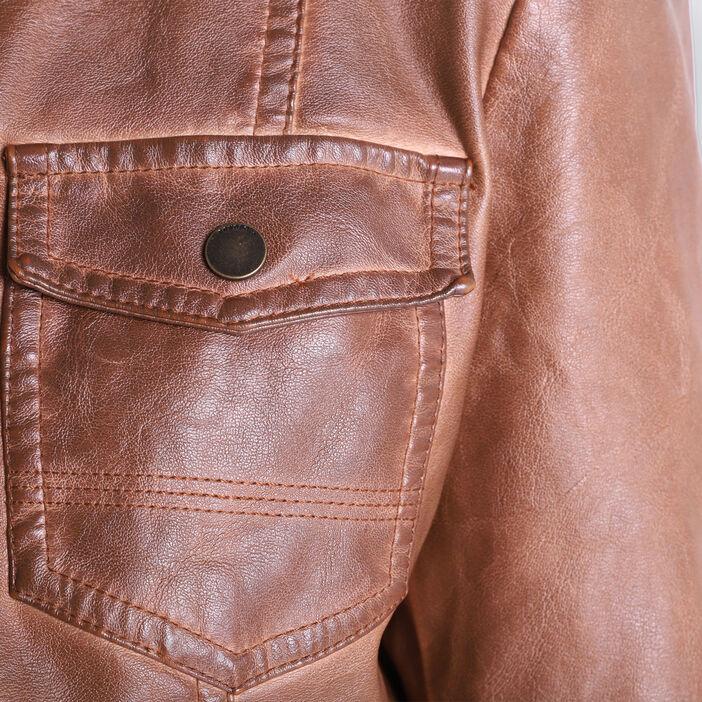 Veste cintrée zippée col rond marron femme