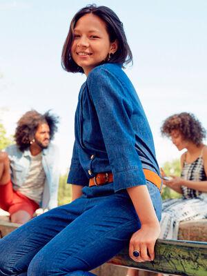 Combinaison pantalon en jean denim stone femme