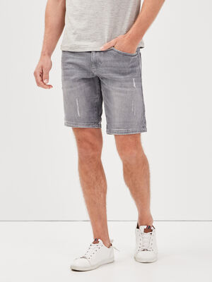 Bermuda droit en jean denim gris homme