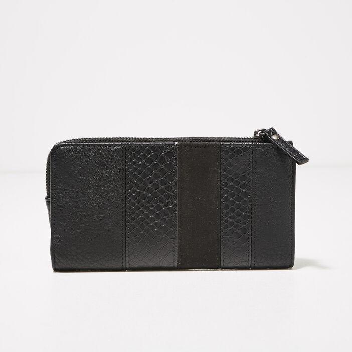 Portefeuille texturé noir femme
