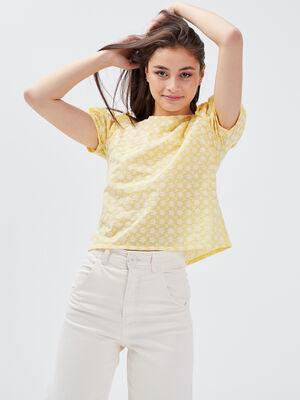 Blouse manches courtes jaune clair femme