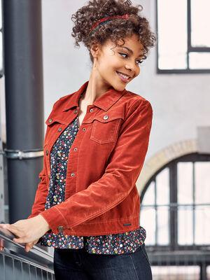 Veste droite boutonnee marron cognac femme