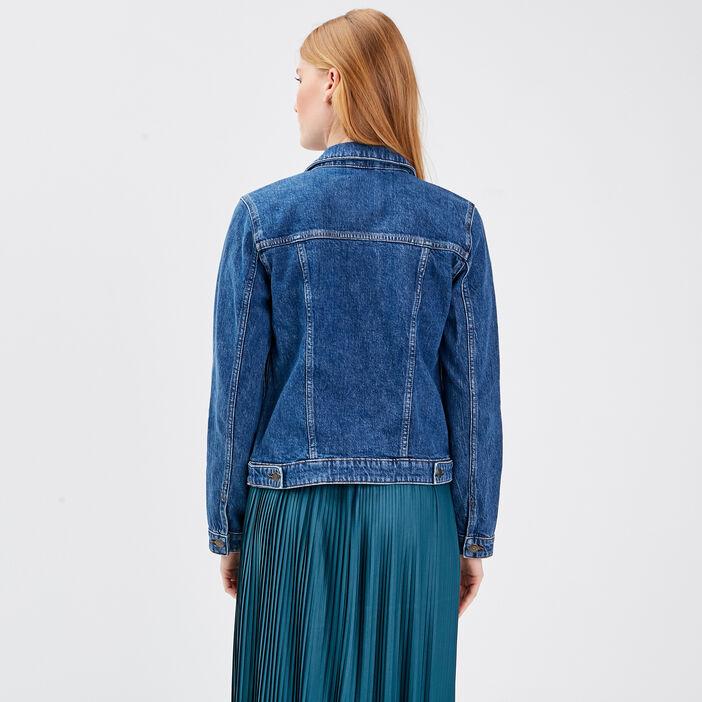 Veste droite en jean denim stone femme
