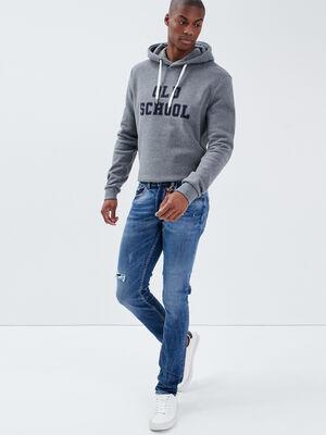 Jeans slim details destroy denim used homme