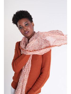 Foulard bords brodes a pompons marron cognac femme