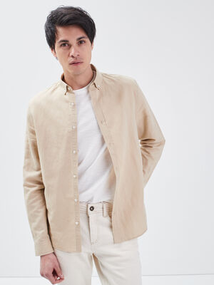 Chemise eco responsable beige homme