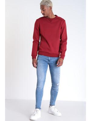 Jeans skinny destroy denim stone homme