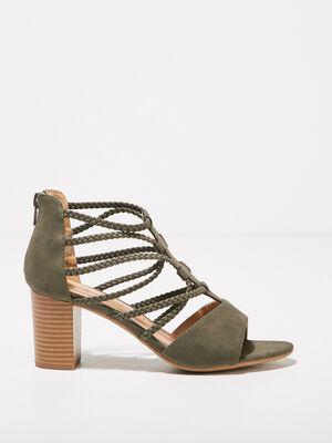 Sandales a talons avec brides vert kaki femme