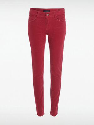 Pantalon slim effet velours rose cerise femme