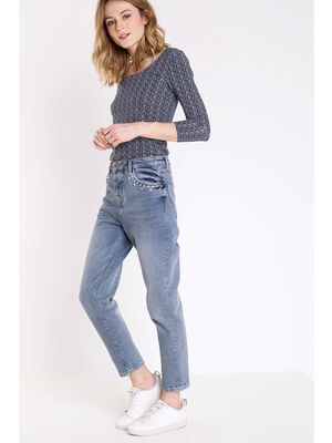 jeans mom femme taille haute avec perles denim used