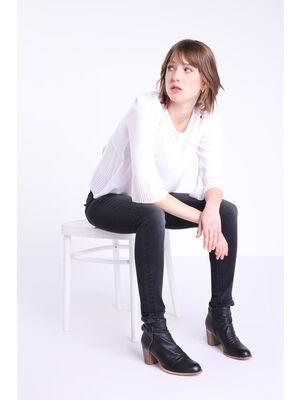 Jeans skinny taille haute used denim noir femme