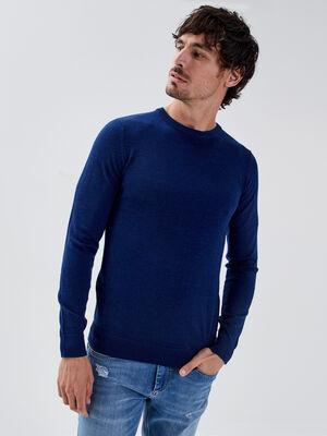 Pull 100 laine merinos bleu homme