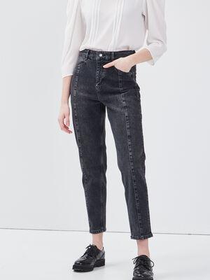 Jeans mom taille haute denim noir femme