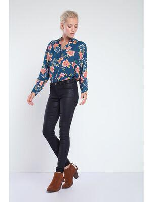 jeans skinny femme en tissu enduit denim noir enduit