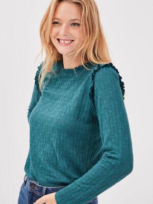 T shirt manches longues vert canard femme
