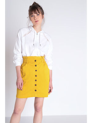 Jupe chino jaune moutarde femme