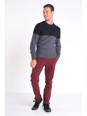 Pantalon straight Instinct chino ajuste violet fonce homme