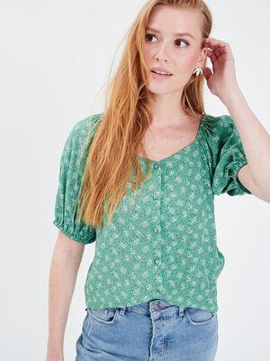 Blouse manches courtes vert menthe femme