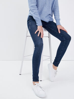 Jeans skinny a detail zippe denim dirty femme
