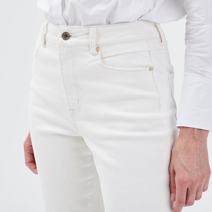 Jeans mom taille haute denim blanc femme