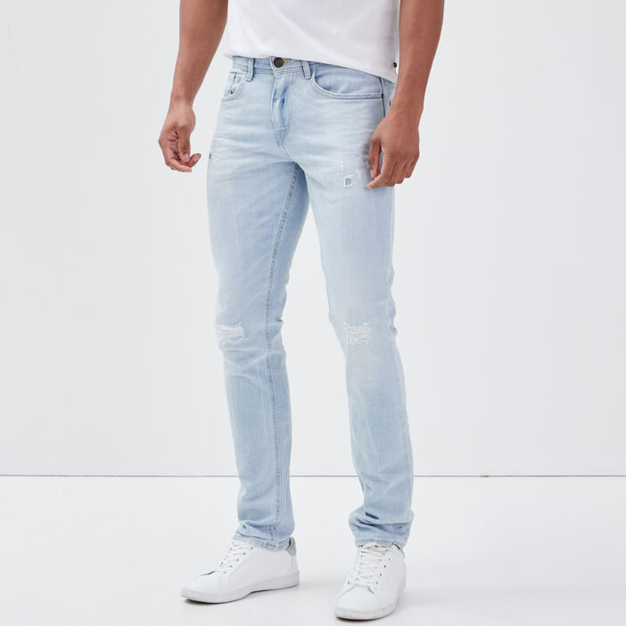 Jeans slim détails destroy denim bleach homme