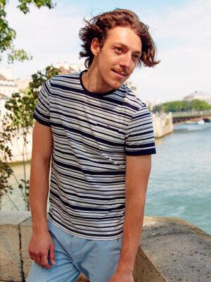 T shirt raye ecru homme