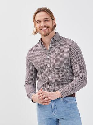 Chemise manches longues bordeaux homme