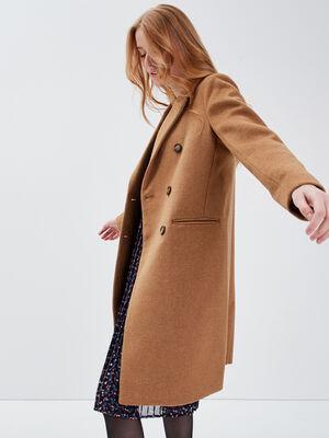 Manteau droit boutonne marron clair femme