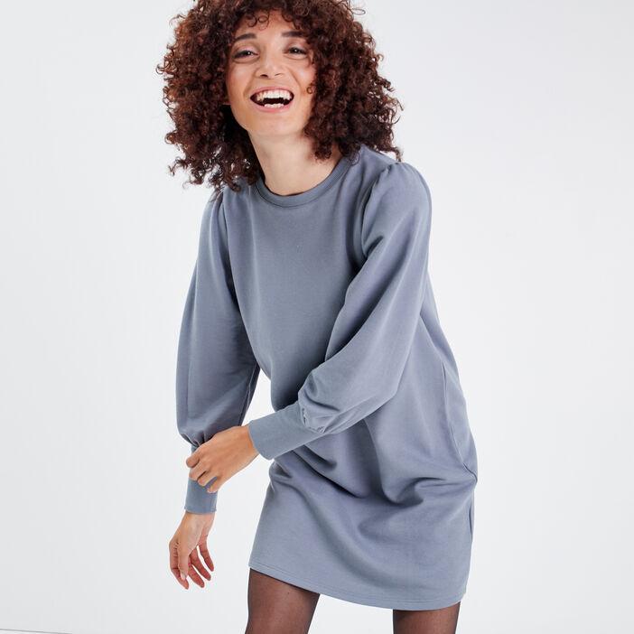 Robe droite manches longues bleu gris femme