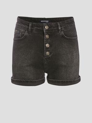 Short droit boutonne en jean denim noir femme