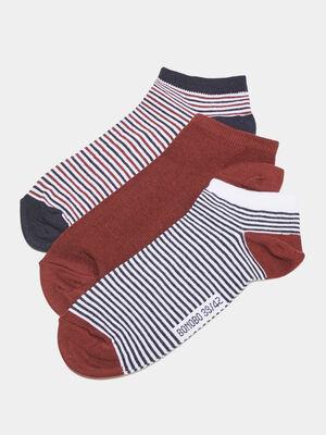 Lot 3 paires de chaussettes rouge fonce homme
