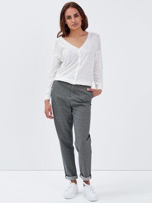 Pantalon slouchy taille haute denim stone femme