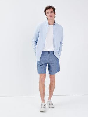 Bermuda droit en jean bleu gris homme