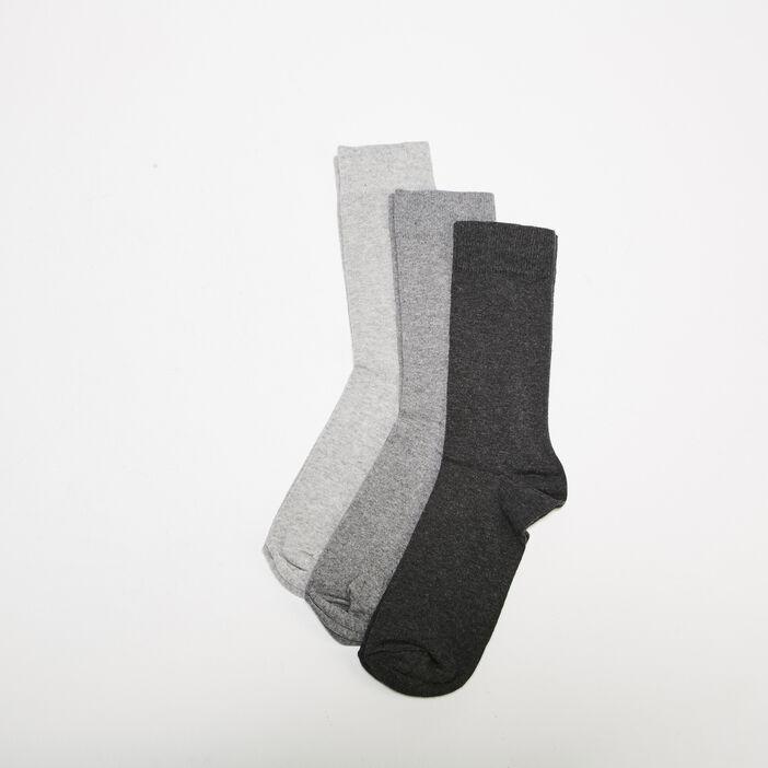 Set 3 paires de chaussettes gris clair homme