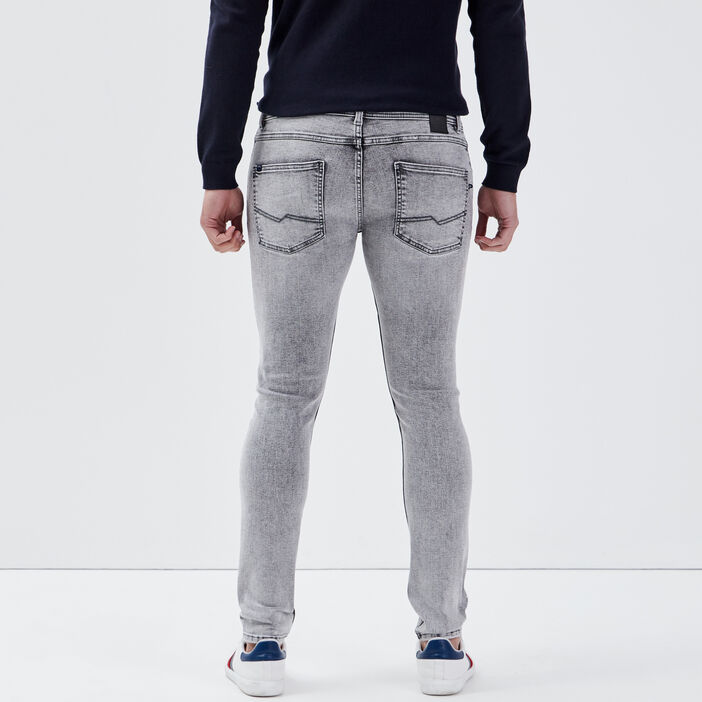 Jeans skinny effet used gris foncé homme
