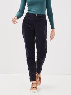 Pantalon chino velours cotele bleu fonce femme