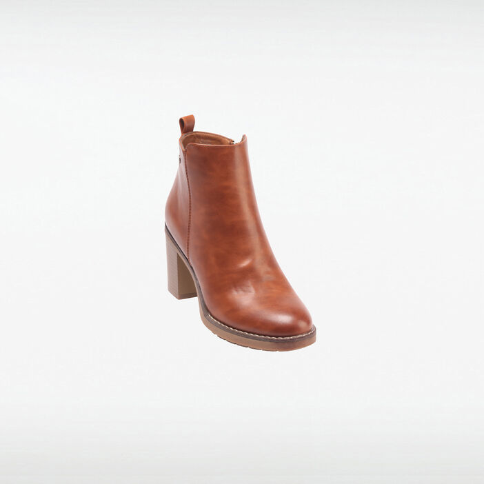 Bottines à talon zippées marron femme